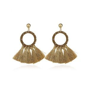 Beaded gold hoop earrings with fringe